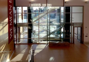 SuperLite II-XL 120 in University of Utah stairway